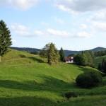 Blick auf unsere Jagdhütte von der Bergseite