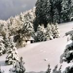 Blick von unten auf die Jagdhütte in den Wintermonaten