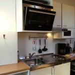 Küchenzeile mit Spülmaschine, Kochfeld, Backofen und Mikrowelle